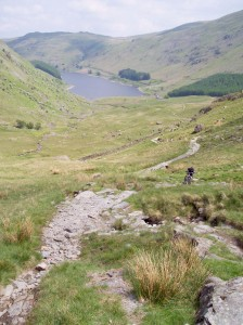 Paul climbing the start of the Nan Bield Pass from Haweswater.