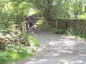 Paul at the start of the Ullthwaite Bridge bridleway.