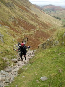 Chris on the hike'a'bike out of Boredale.