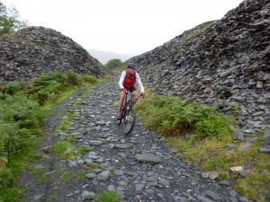 Stu descending through the quarry after Torver Bridge.