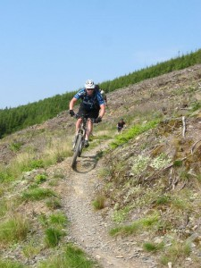 Russ on the Cli-machx Trail singletrack.