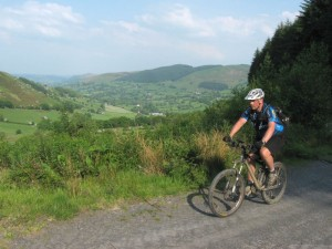 Russ at the top of the Cwmwr Woods climb.