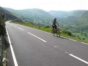 Connor on the long climb out of Llangynog.