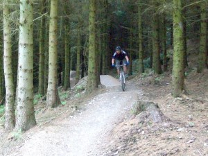 Gas on the Red Route at Llandegla MTB centre.