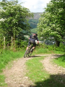 Gaz just before it gets scary fast on the Staffer Pugh descent to Llangollen.