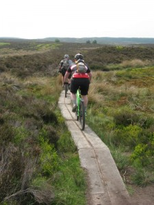 Russ and Mark on the Offa's Dyke planks to Llandegla.