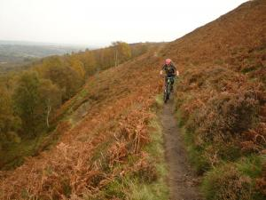 Brian on the exposed Wimble Holme Hill singletrack traverse.