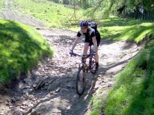 Sabine at the bottom of the switchbacks on the Hagg Farm descent.