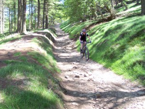Sabine descending to the Derwent Reservoir.
