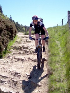 Sabine at the top of the Hagg Farm descent.