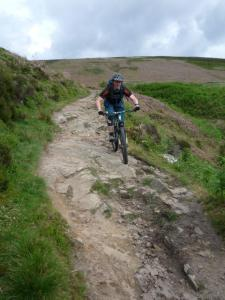 Alistair at the end of the Winstone Lee Tor descent.