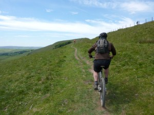 Michael on the Rushup Edge singletrack.