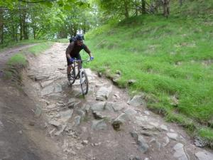 Micheal on the Nabs Wood descent to the Derwent Reservoir.