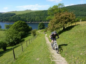 Peter climbing from the Ladybower Reservoir.