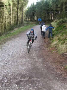 Darren descending back through Macc Forest.