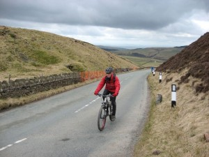 Mike climbing to the Cat and Fiddle pub.