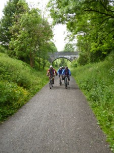 Alex, Dan and Wayne returning to Hassop Station on the Monsal Trail.