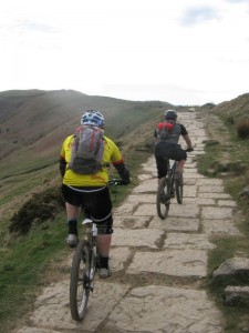 Rich and Steve climbing the Mam Tor pavement.