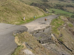 Rich climbing the Broken Road from Castleton.