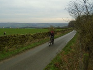 Graham climbing to Ballcross Farm.