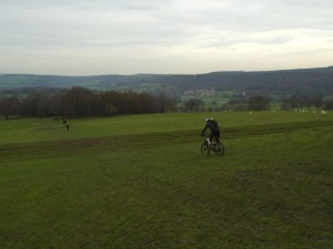Paul and Graham descending towards Chatsworth.