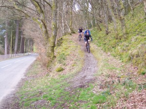 Steve, Jim and Paul at the end of the off road descending to the Vyrnwy dam.