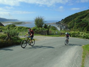 Graham and Libby climbing from Barmouth.