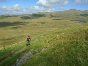 Graham descending to Pont Scethin.