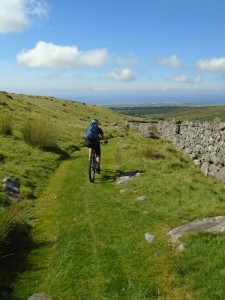 Libby descending the Llyn Irddyn bridleway.