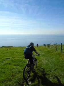 Libby on the Llanaber descent heading to the Irish Sea.