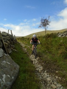 Libby on the descent to Bryn Castell.