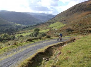 Jan on the doubletrack start to the Cadair Idris climb.