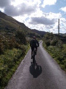 Mark riding back towards Llanfihangel y pennant.