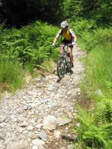 Matt on the last of the rocky singletrack on the descent of Cadair Idris.
