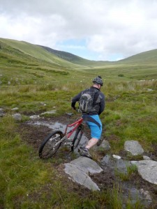 Chris tackling the Afon-y-Bedol bogs.