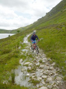 Chris on the rocky Llyn Cowlyd trail.