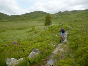 Chris descending the Waenhir singletrack.