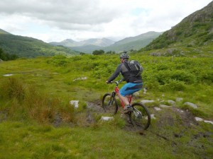 Chris on the Weanhir trail heading towards Snowdon.