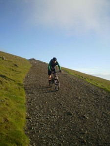 John descending on the top section of Llanberis Trail.