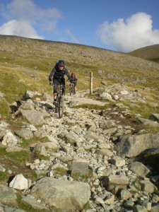 Col (flattryes) and mark descending to Halfway House on Snowdon.