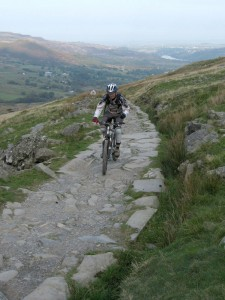 Steph climbing the lower section of the Llanberis Trail.