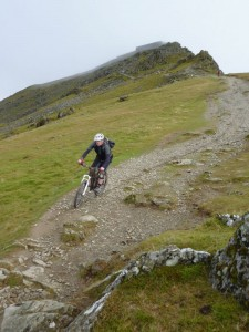 Andy starting the Rhyd Ddu descent from the summit of Snowdon.