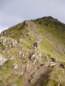 Taking care on the Bwlch Main traverse on the Rhyd Ddu trail.