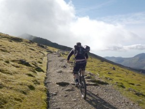Nige riding towards the summit of Snowdon.