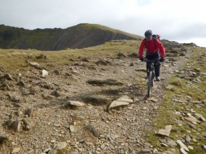 Reece descending Llechog on the Rhyd Ddu trail.