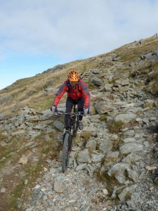 Rich on the boulder fields of the Rhyd Ddu trail.