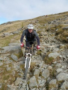 Andy on the boulder fields of Rhyd Ddu.