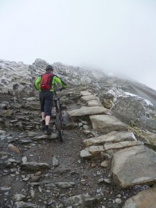 Steve climbing to the summit of Snowdon.
