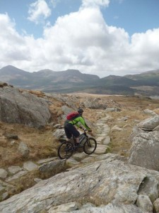 Steve riding the slabs on the lower part of the Rhyd Ddu trail.