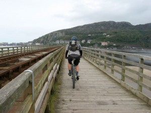 Col (flattyres) crossing Barmouth Bridge.